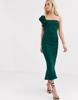 True Violet Asymetric Frill Shoulder Midi Dress With Peplum-Green
