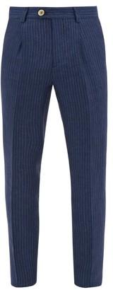 Brunello Cucinelli Pinstriped Linen Trousers - Mens - Blue