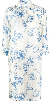 Alberto Biani Silk Floral Shirt Dress