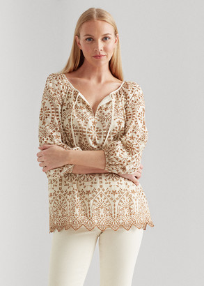 Ralph Lauren Eyelet Elbow-Sleeve Top