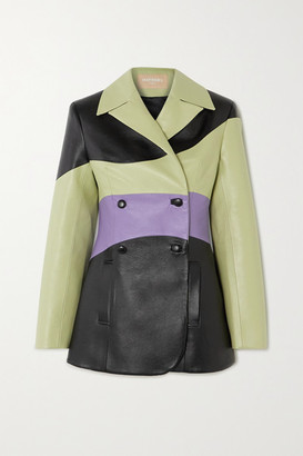 MATÉRIEL Color-block Double-breasted Faux Leather Blazer - Light green