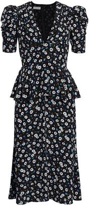 Michael Kors Ruffle-Trimmed Floral Silk Dress