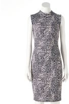 JLO by Jennifer Lopez Women's Snakeskin Print Mockneck Sheath Dress