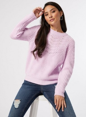 Dorothy Perkins Womens Dp Petite Lilac Pointelle Jumper