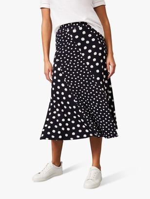 Phase Eight Denia Mixed Spot Panelled Maxi Skirt, Navy/Ivory