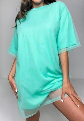 Missguided Mint Mesh Overlay Drop Shoulder T Shirt Dress