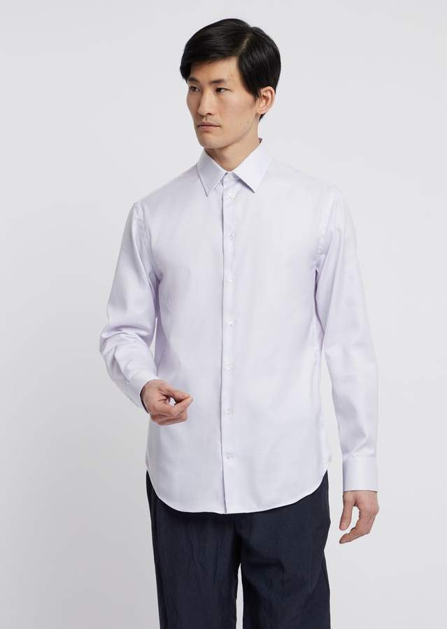 Emporio Armani Modern-Fit Textured Cotton Shirt Featuring Classic Collar With Stays