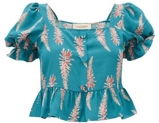 Adriana Degreas Aloe Print Square Neck Silk Crepe Top - Womens - Blue Print