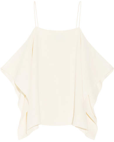 Theory Petteri Cold-shoulder Crepe De Chine Top - Ivory