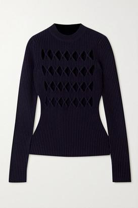 Victoria Beckham Cutout Ribbed Wool-blend Sweater - Midnight blue
