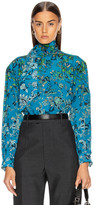Givenchy Long Puffy Sleeve Scarf Blouse in Blue | FWRD