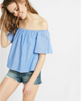 Express Blue Thin Stripe Off The Shoulder Top