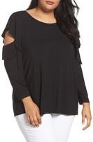 Sejour Plus Size Women's Cold Shoulder Ruffled Top