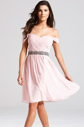 Little Mistress Rose Off the Shoulder Embellished Dress
