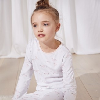 The White Company Run Wild Horse-Print Pyjamas (1-12yrs), White/Pink, 7-8yrs