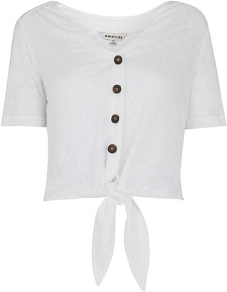 Whistles Linen Button Front Tie Front Top