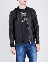 Replay Contrast-trim leather bomber jacket
