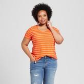 Ava & Viv Women's Plus Size Scoop Neck T-Shirt Orange Stripe