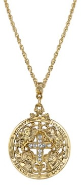 """Symbols of Faith 14K Gold-Dipped Crystal Writers of The Good Word Pendant Necklace 24"""""""