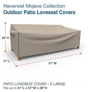 Budge Waterproof Outdoor Patio Loveseat Cover, NeverWetA Mojave, Black Ivory, Multiple Sizes