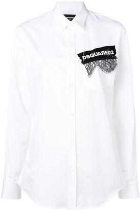 DSQUARED2 printed lace appliqué shirt