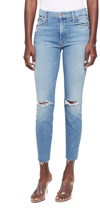 Mother Looker Ripped High Waist Fray Ankle Skinny Jeans