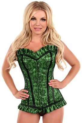 DaisyCorsets Women's Top Drawer Lace Steel Boned Corset with Metal Closure