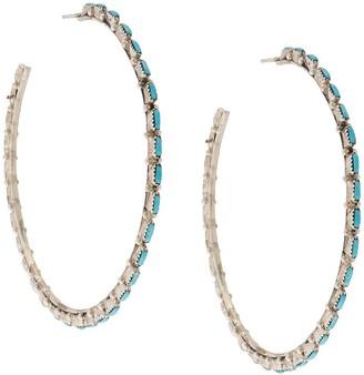 Jessie Western Large Turquoise Hoop Earrings