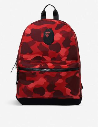 A Bathing Ape Kids Camo Ape Head Day woven backpack
