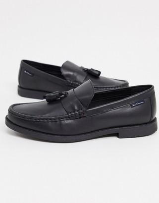 Ben Sherman leather tassel loafers in black