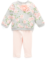Baby Essentials Peach Floral Quilted Sweatshirt & Leggings - Infant