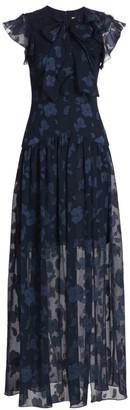 ML Monique Lhuillier Flutter-Sleeve Slit Gown
