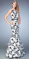 La Femme Printed Floral Bateau Prom Dress