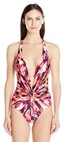 Kenneth Cole New York Women's Floral Explosion Twist Plunge One-Piece Swimsuit