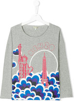 Kenzo Teen Statue Of Liberty and Eiffel Tower print top