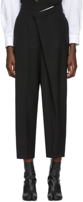 Enfold Black Wool Overlap Trousers