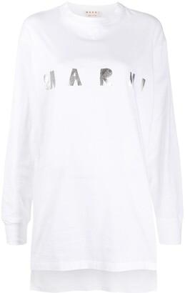 Marni long-sleeved metallic logo T-shirt