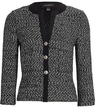 St. John Silk-Trimmed Tweed Knit Jacket
