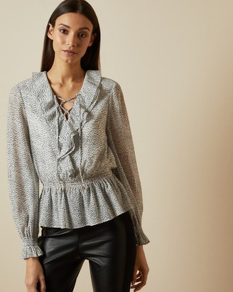 Ted Baker ALYANNA Ruffle top with lace detail