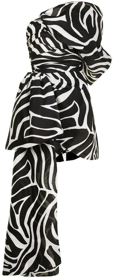 Isabel Sanchis Zebra-Print Silk Mini Dress