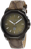 Perry Ellis Unisex Decagon Olive Leather Watch