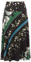 Erdem Elvin Daffodil Ditsy-print Midi Skirt - Womens - Black Green