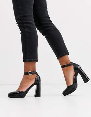 New Look platform leather look croc heel in black