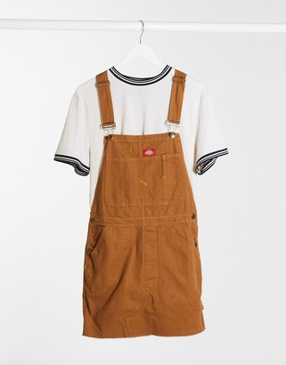 Dickies Hopewell denim bib in rinsed brown