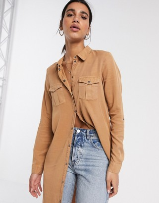 Vero Moda longline shirt with utility details in tan