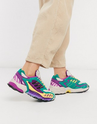 adidas Torsion TRDC sneakers in purple and green