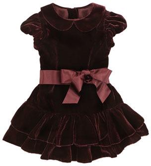 Ralph Lauren Drop-Waist Velvet Dress, Bordeaux, 9-24 Months