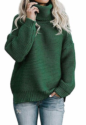 Functionaryb Womens Chunky Turtleneck Sweater Long Sleeve Casual Solid Knitted Jumper Pullover Tops Ladies Green S