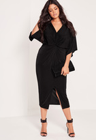 Missguided Plus Size Slinky Kimono Midi Dress Black