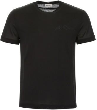 Alexander McQueen Logo Embroidered Crewneck T-Shirt